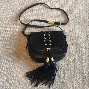 Foley + Corinna black crossbody with tassels
